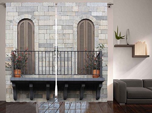 Ambesonne Modern Home Decor, Balcony Window Picture Contemporary Art Print, Bedroom Living Room Curtain 2 Panels Set, 108 X 90 Inches, Gray Brown