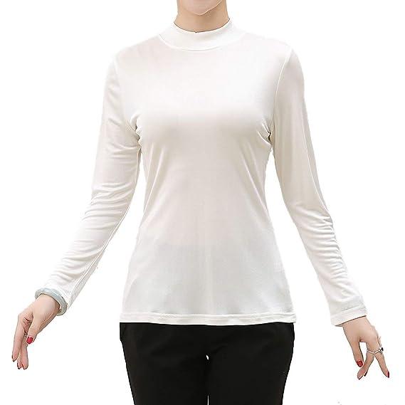 Camisa De Manga Larga Mujer Otoño Invierno Basicas Camisetas Elegantes Slim Fit Moda Cuello Medio Alto Manga Largo Color Sólido Casuales Mujeres Shirt Tops ...