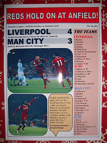 Sports Prints UK Liverpool 4 Manchester City 3-2018 - Souvenir Print