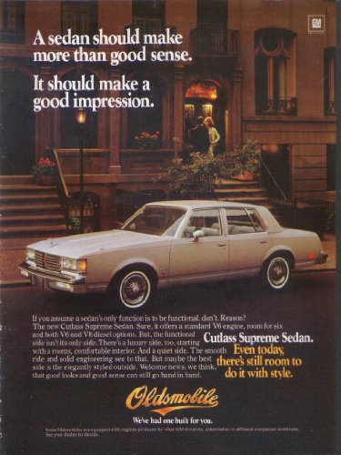 (Impression Oldsmobile Cutlass Supreme Sedan ad 1982)