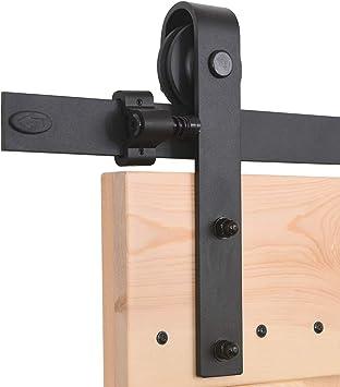 Herraje Puerta Corredera 183cm/6ft Negro, CCJH Riel Puerta Corredera Armario, Adecuado para 2 Puertas de 46 cm de ancho [J Shape Hanger]: Amazon.es: Bricolaje y herramientas