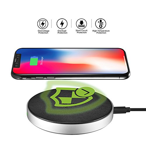 DESTEK iPhone X Fast Wireless Charger – Quick Wireless Charging Pad for iPhone & Samsung (7.5W for iPhone X 8 8plus, 10W for S9+ S8 Note8), 5W for Others Qi-Enabled Smartphones (with 18W Adapter) by DESTEK (Image #4)