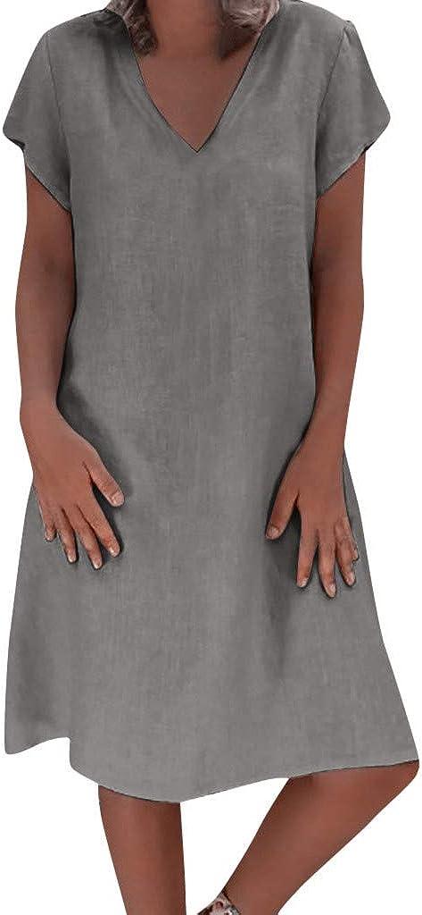 Hypothesis Short Sleeve Casual Dress Summer Linen Dress Plus Size Dresses Dress for Women