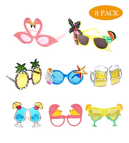 Funny Sunglasses,Novelty Party Sunglasses, Creative Funny Sunglasses, Funny Hawaiian Tropical Sunglasses,Luau Fancy Dress Party Supply, Hawaii Themed Sunglasses,Beach Photo Booth Props(8 -