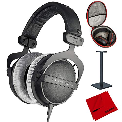 beyerdynamic DT 770-PRO Studio Headphones 80 Ohms Closed Dynamic (474746) with Full Size Headphone Case, Headphone Stand & Microfiber Cleaning Cloth