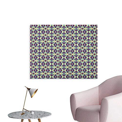 Anzhutwelve Retro Wall Paper Graphic Diamond Shapes Stripes Old Fashioned Geometric Symmetric Tile Art Poster Cream Pale Blue Indigo W36 xL32]()