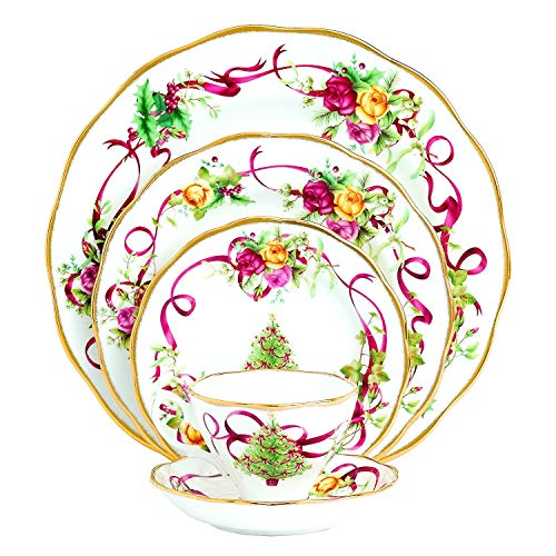 Dinnerware Set. 5 Piece. Round Dinner Dish Kit For 1. White Floral Christmas For Home Kitchen Everyday Dishware, Dining, Plates, Mug. Bone China Tableware. Dishwasher Safe ()