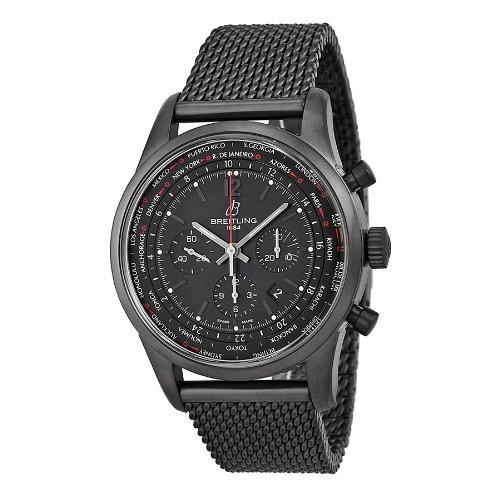 Breitling Men's BTMB0510U6-BC80SS Transocean Unitime Pilot Analog Display Swiss Automatic Black Watch