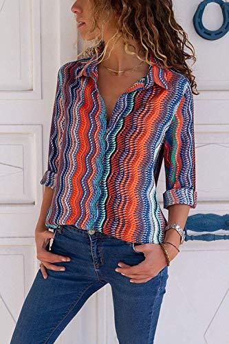 Chiffon Blusa V Lunga Scollo Elegante Manica Camicetta s Multicoloured xxl Camicia Donna Aranmei REWpqSgwBt