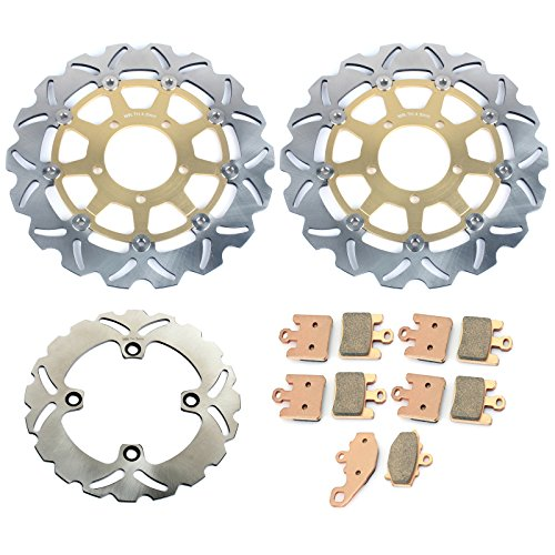 TARAZON Gold Set Front Rear Brake Rotors & Pads for Kawasaki Ninja ZX6R ZX6RR ZX600 ZX636 05 06 ZX10R 04 05 06 07