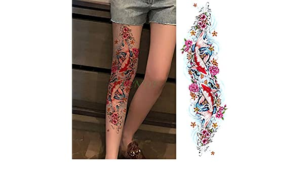 Handaxian 3pcs Impermeable Tatuaje del Brazo Completo Flor Color ...
