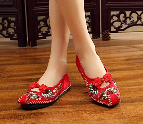 Avacostume Vrouwen Borduren Twijn Weave Kikker Adron Comfortabele Flats Schoenen Rood