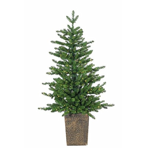Sterling Tree Company 4ft Pre-lit Premium Potted LED Akron Pine Artificial Christmas Tree w/ 400 Warm White LED Micro Lights, Stand, 450 Tips, 28in base - NEW for 2017