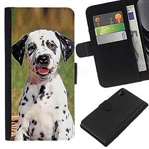 eJoy---La carpeta del tirón la caja de cuero de alta calidad de la PU Caso protector - Sony Xperia Z2 D6502 - --Dalmatian Puppy Spots Dog Pet