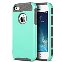 iPhone 5SE case,iPhone 5S Case, E-weekly(TM) Hard PC Shell and Soft TPU Hybrid iPhone 5 Cases Dual Layer Slim Thin Shockproof Cover for Apple iPhone SE 5SE 5S 5 (2 in 1 Shield-Teal+Gray)