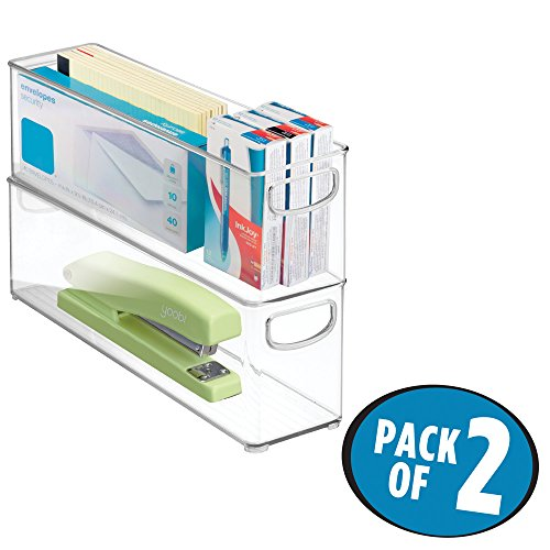 """mDesign Office Supplies Desk Cabinet Organizer Bin for Supplies, Staplers, Envelopes - Pack of 2, 16"""" x 4"""" x 5"""", Clear"""
