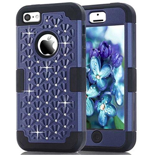 IPhone 5C hülle,Lantier [weicher harter Tough Case] ??Designer Kristallbling Hybrid Rüstungs Kasten Abdeckung für Apple Iphone 5C Deep Blue + Schwarz