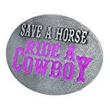 Buckle Rage Adult Women's Save A Horse Ride A Cowboy Country Belt Buckle Silver