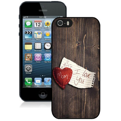 Coque,Fashion Coque iphone 5S I Love You Mom Wood Background Noir Screen Cover Case Cover Fashion and Hot Sale Design
