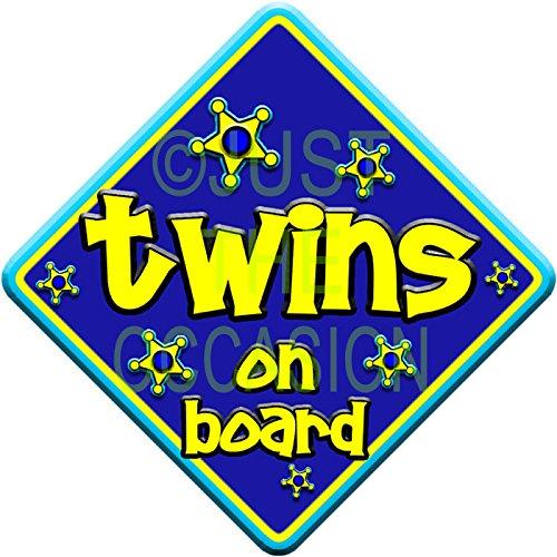 twins on board  novelty baby on board car window sign FUNKY