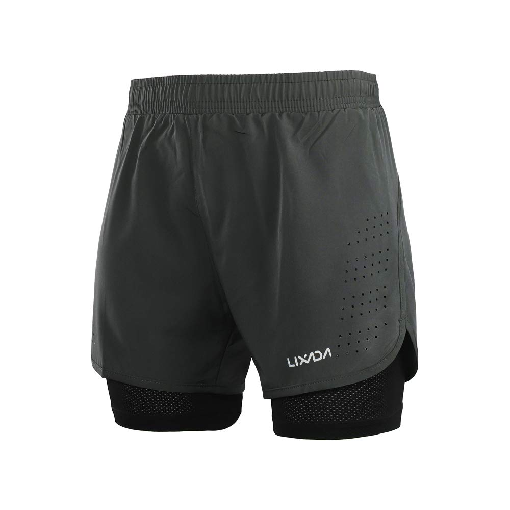 Lixada Men's 2-in-1 Running Shorts Quick Drying Breathable Active Training Exercise Jogging Cycling Shorts with Longer Liner & Reflective Elements, Black/Blue/Green/Grey (Dark Gray, XXL) by Lixada
