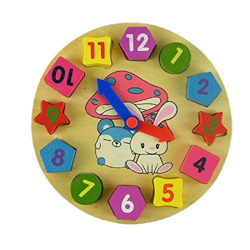 [OVERMAL Wooden Toy Digital Geometry Clock Wooden Blocks Toys Children Educational Toy] (Person Struck By Lightning Costume)
