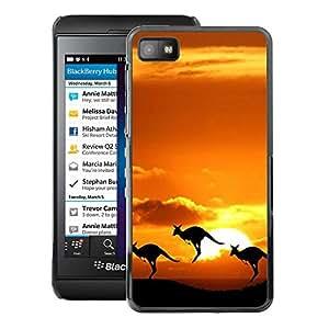 A-type Arte & diseño plástico duro Fundas Cover Cubre Hard Case Cover para Blackberry Z10 (Australia Sunset Nature Outback Kangaroo)