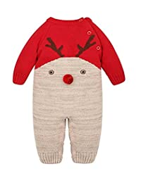 Aokaixin Baby Sweater Deer Theme Christmas Infant Romper Suit Costume