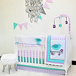 Pam Grace Creations 10 Piece Purple Lovebirds Nursery to Go Crib Bedding Set