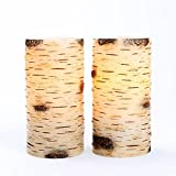 Set of 2 Birch Bark Flameless Wax Battery Operated 6 LED Candles