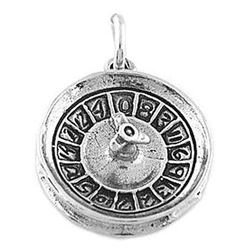 Sterling Silver Oxidized Roulette Wheel Charm (Sterling Silver Roulette)