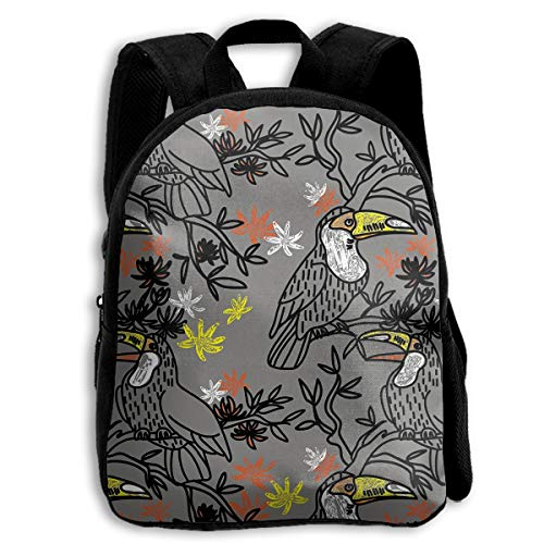 Hand-painted Birds Cute Preschool Bookbags Lightweight Student Backpack, Little Kid Backpacks For School Boys And Girls,Casual Daypack For Travel With Multiple Bottle Side ()