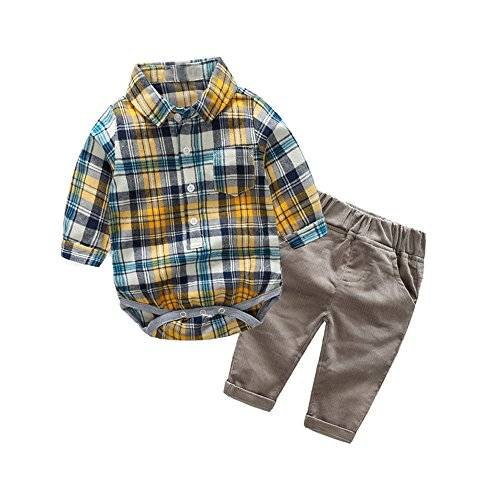 Top and Top Gentle Baby Boys Cotton Long Sleeve Plaid Romper Jumpsuits With Corduroy Pants Clothing Set (90/12-18 Months, (Baby Boy Corduroy Jacket)