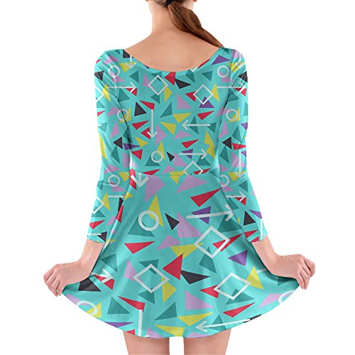 Mint Memphis Pattern Longsleeve Skater Dress Kleid mit langen Ärmel XS-3XL