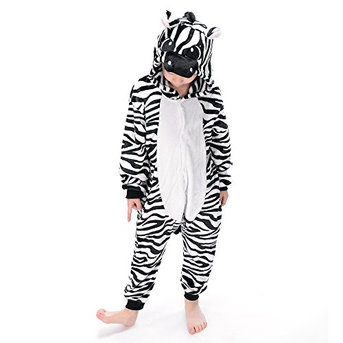 Coolpay Cute Unisex Animal Pattern Children Pajamas Cosplay Bath-Towel Costume Sleepwear for Kid Perfect as Halloween or Christmas Gifts to Baby and Children (120#, Zebra) ()