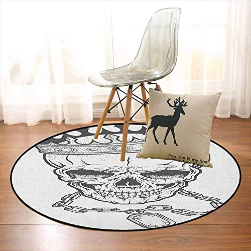 King Children's Bedroom Carpet Sketchy Skull with Crown Hip Hop Street Style Necklace Chain Gem Image Print Soft Fluffy D47.2 Inch Charcoal Grey White