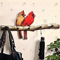 Sulin Decorative Hook Pastoral European Wall Hanging Wooden Coat Hook Parrot for Living Room Porch Door