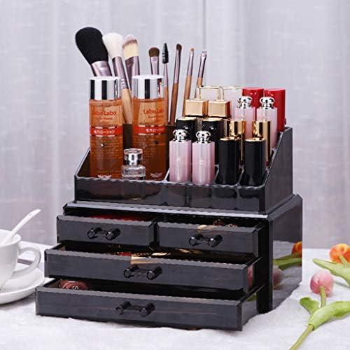 HAPzfsp 化粧品収納ボックス トップトレイ付き4引き出し化粧ジュエリー化粧品ディスプレイ収納オーガナイザーホルダー - ブラック 化粧品オーガナイザー、更衣室、化粧台