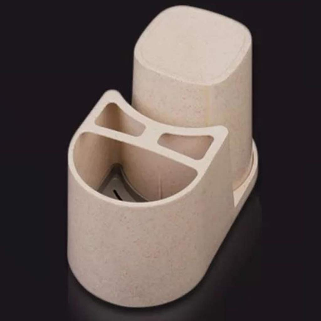 Beige Toothbrush Holder Wheat Straw Bathroom Storage Organizer with 1 Cup,Toothpaste Cleanser Comb Rack