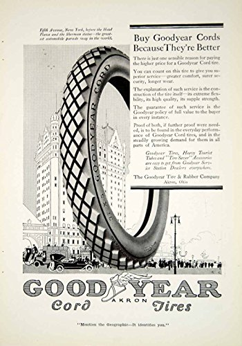 1916 Ad Good Year Tire Company Corded Tires Akron Ohio Rubber Car Vehicle YNG1 - Original Print Ad from PeriodPaper LLC-Collectible Original Print Archive