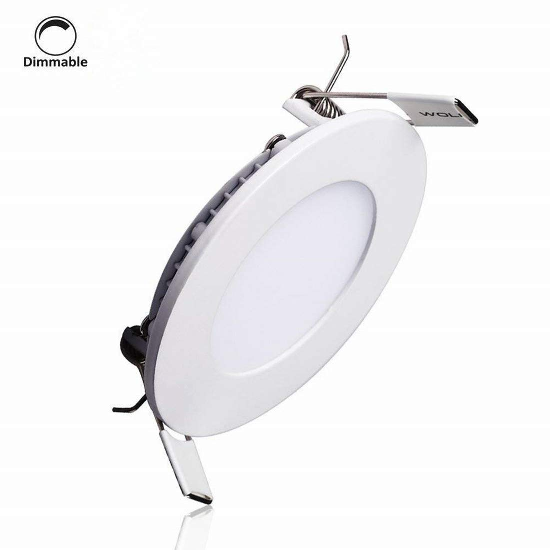 LAIN 9W LED Panel Light Fixture Dimmable Round Ultrathin Ceiling Light Fixtures,60W Incandescent Equivalent,Recessed Downlight Flat Lamp,3000K Warm White,720lm,4.9 Inch Cut Hole Home Office Lighting