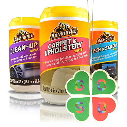 ArmorAll Clean Up, Tech & Screen, Carpet & Upholstery Mini Car Care Cleaning Wipes Kit