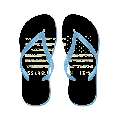 CafePress USS Lake Champlain - Flip Flops, Funny Thong Sandals, Beach Sandals Caribbean Blue