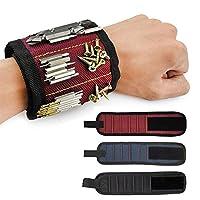 Bracelet Magnétique, Pawaca 5 Puissants Aimants Forts Magnet Arm Band pour les Vis de Maintien, Clous, Trépans de Forage - Best Tool Cadeau pour Bricoleur Handyman, Hommes, Femmes