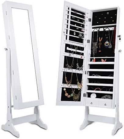LANGRIA Lockable Jewelry Cabinet Free Standing Jewelry Armoire Organizer Full Length Mirrored, 2 Drawers, 3 Angle Adjustable Organizer Storage for Rings, Earrings, Bracelets, Broaches, White Finish …