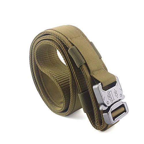 Heavy Duty Riggers Belt (MOLLE Military Tactical Belt, Special Troops Outdoor Heavy Duty Training, No Holes Nylon Utility Riggers Belt with Metal Buckle for Men (XL, Coyote Brown))