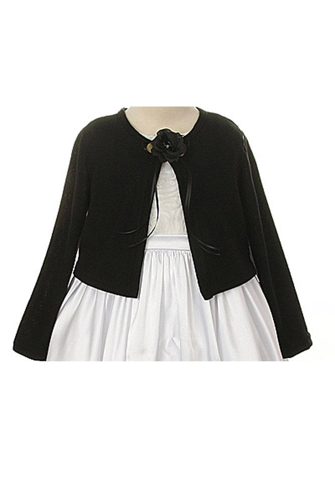 Kids Dream Basic Knit Special Occasion Girl's Cardigan Jacket Sweater - Black Girl 5/6