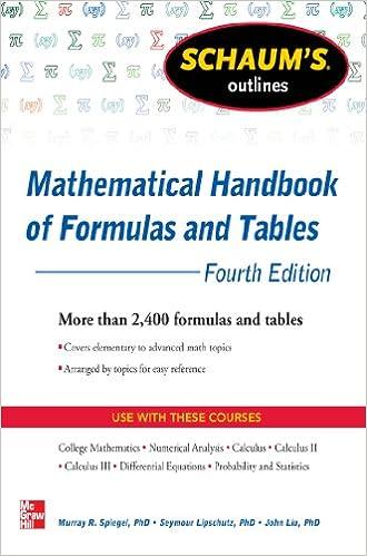 schaum s outline of mathematical handbook of formulas and tables