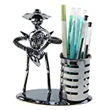 Music Musician Theme Iron Hat Man Art Steel Metal Creative Personality Pen Container Holder Pencil Cup Pot Office Students Desktop Music Decoration Decor Toy Gift Ornaments (A20012 French Horn)