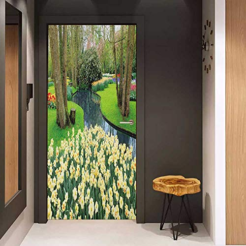 Onefzc Soliciting Sticker for Door Spring Flower Garden in Recreation Park with Fresh Grass Field and Pond Nature Scene Mural Wallpaper W17.1 x H78.7 Green and Brown (Smith Field Park)
